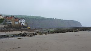 Robin Hood's Bay town quay from the beach