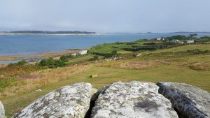 Bant's Carn, looking down at Halangy village (and across at Tresco and St Martin's)