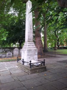 Daniel Defoe's memorial, Bunhill Fields Burial and Gardens, Islington
