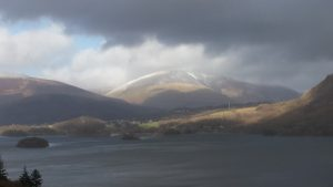 Looking across Derwent Water towards Blencathra under looming skies