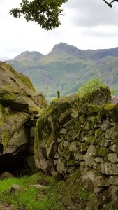 The Langdale Pikes from Chapel Stile boulders