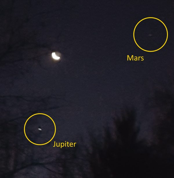 Jupiter and Mars, annotated