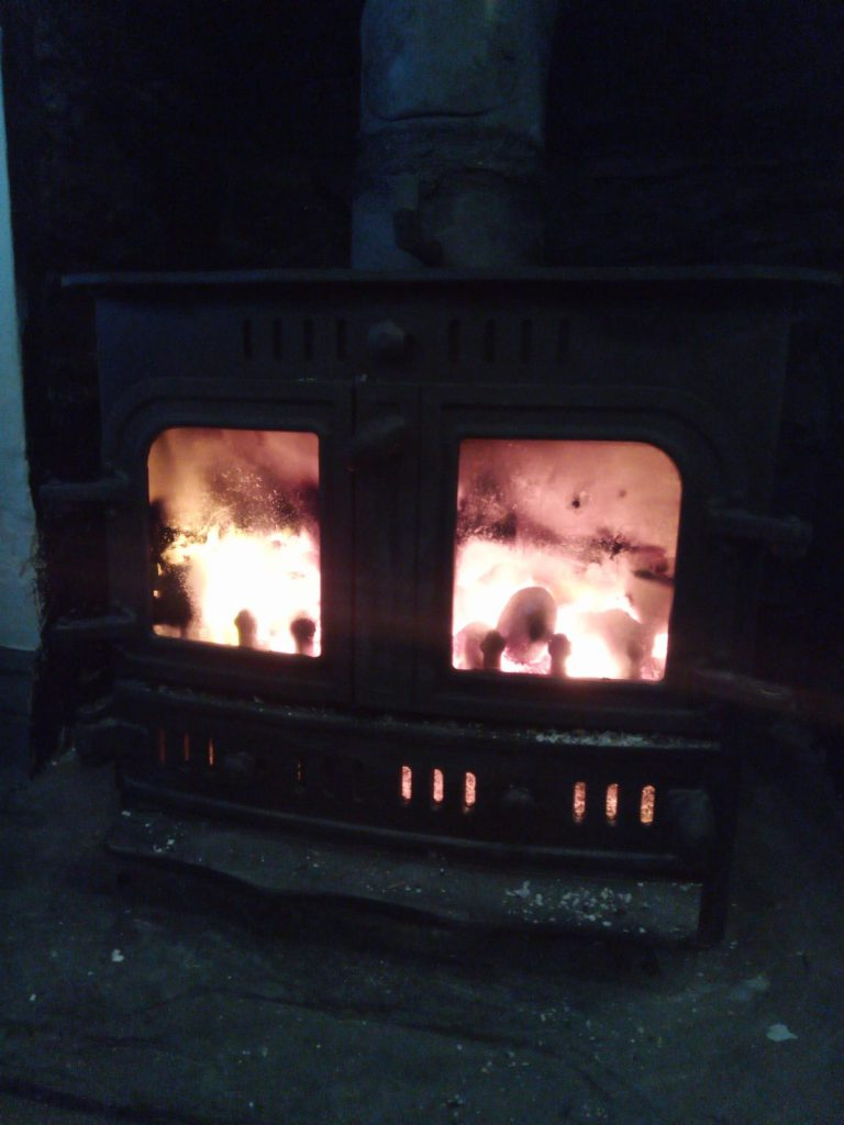 The new wood-burner alight