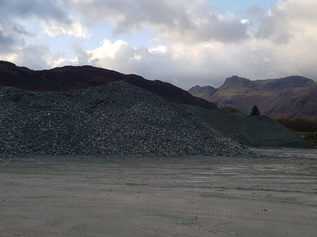 Elterwater Quarry and the Langdale Pikes
